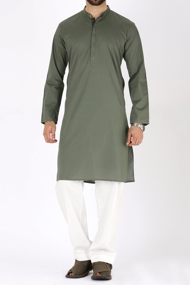 Green Blended Kurta - AL-K-726