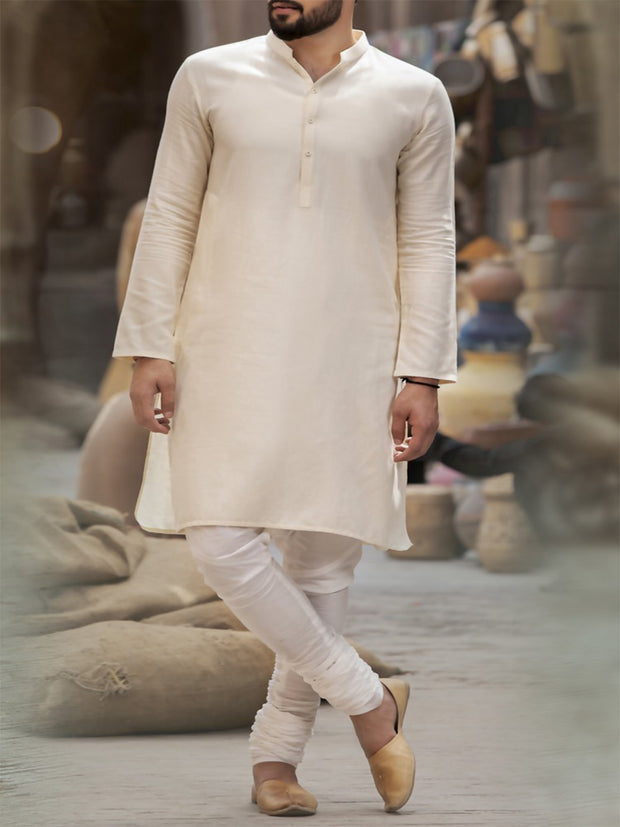 Off White Cotton Kurta - AL-K-738