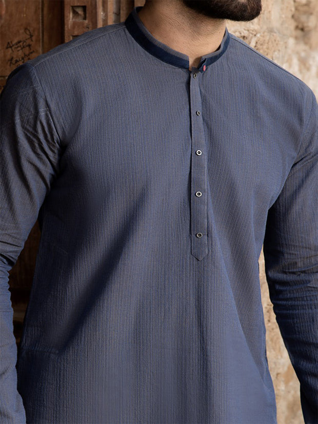 Blue Cotton Kurta - AL-K-760