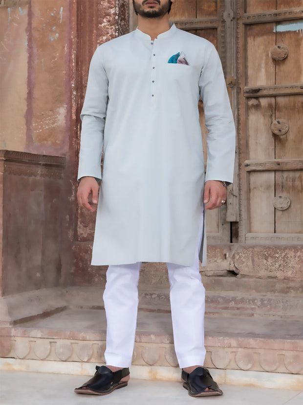 Light Blue Cotton Kurta - AL-K-779
