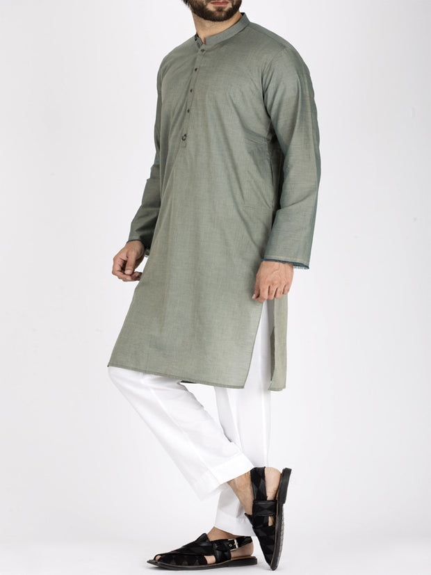 Light Green Cotton Kurta - AL-K-800