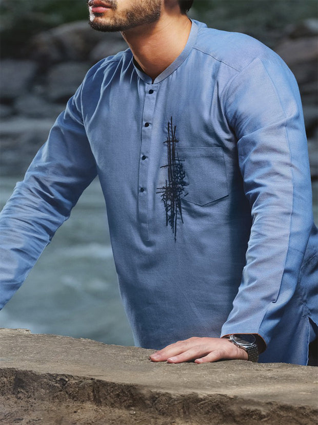 Blue Blended Kurta - AL-K-819