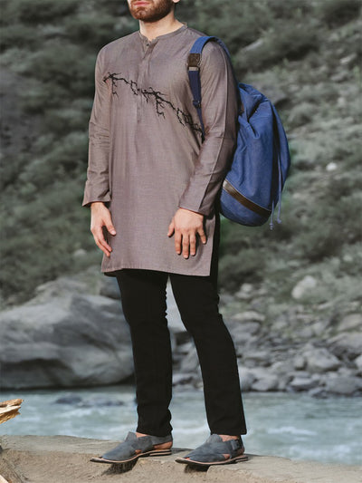 Grey Blended Kurta - AL-K-820