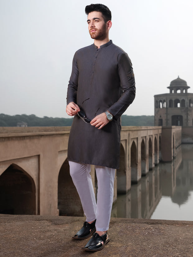 Blue Two-Tone Blended Kurta - AL-K-896