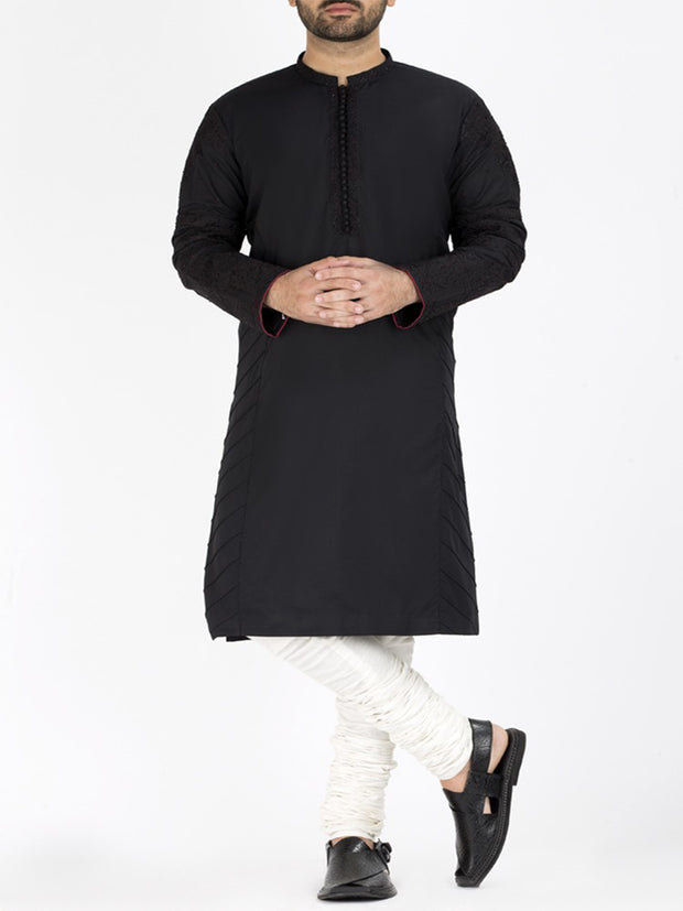 Black Blended Formal Kurta - AL-K-SP-014