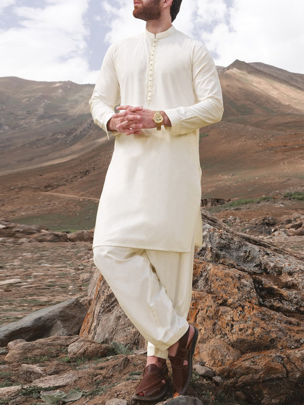 Off White Blended Kameez Shalwar - AL-KS-2374