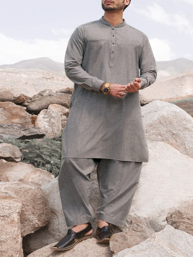 Grey Blended Kameez Shalwar - AL-KS-2375