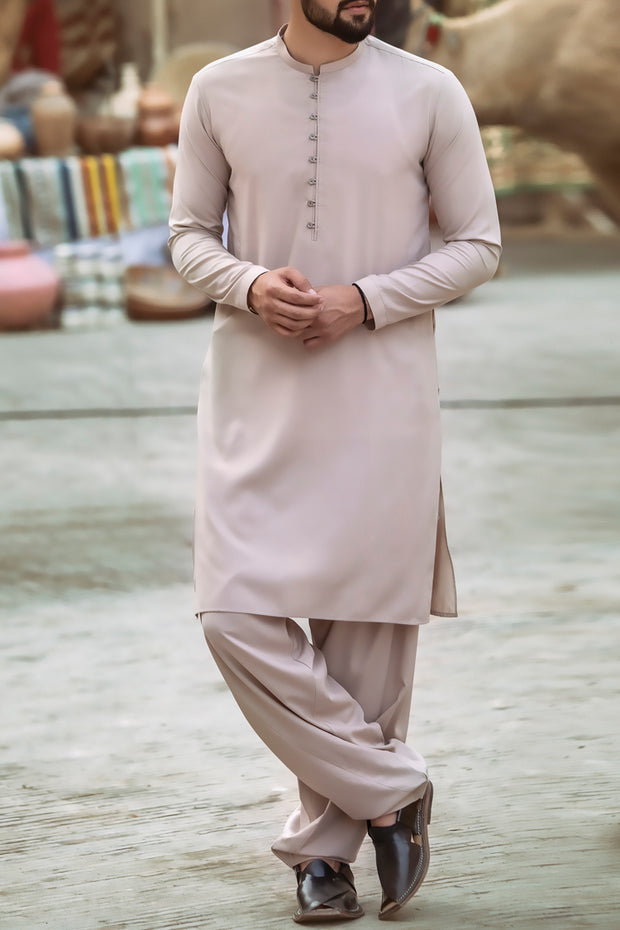 Beige Cotton Kameez Shalwar - AL-KS-2376