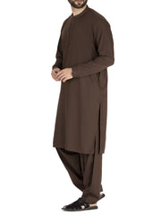 Brown Blended Kameez Shalwar - AL-KS-2422
