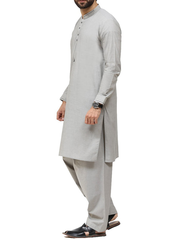Light Grey Cotton Kameez Shalwar - AL-KS-2427