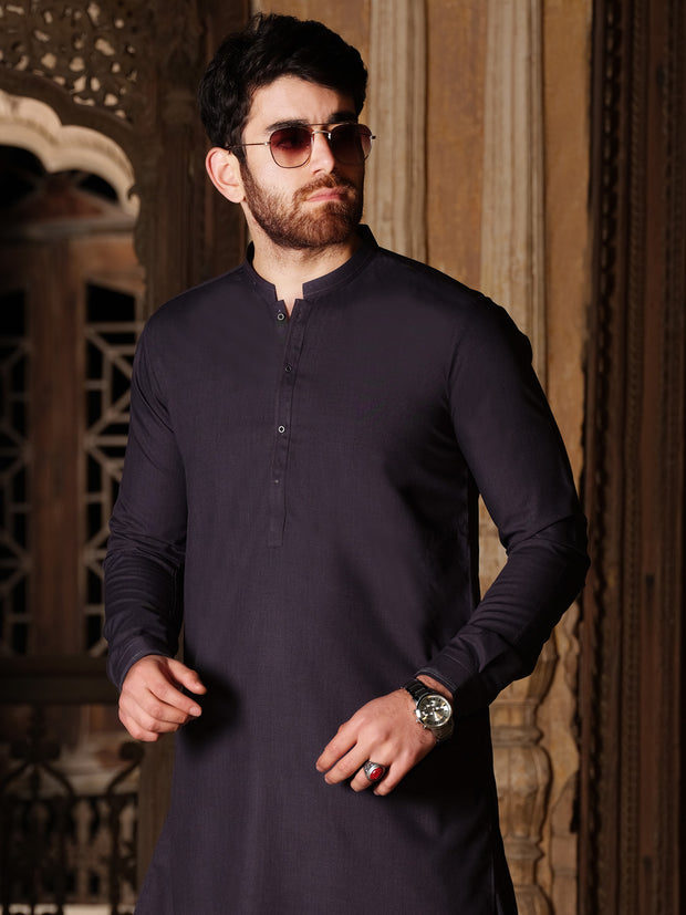 Purple Blended Blended Kameez Shalwar - AL-KS-2519