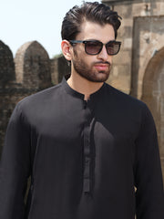 Black Blended Kurta Shalwar - AL-KS-2522