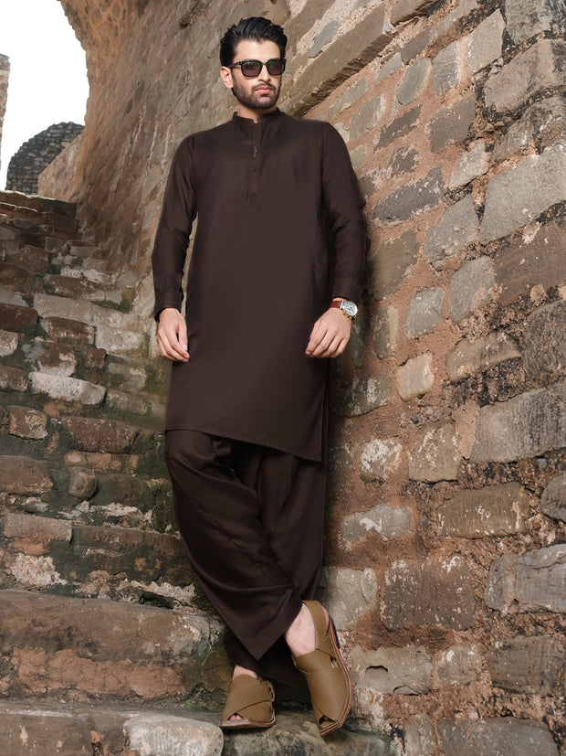 Dark Brown Blended Kurta Shalwar - AL-KS-2528