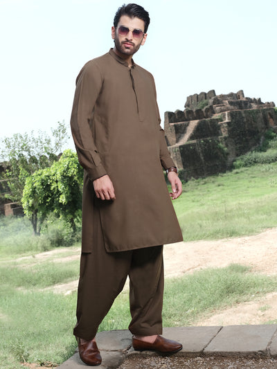 Brown Blended Kameez Shalwar - AL-KS-2535