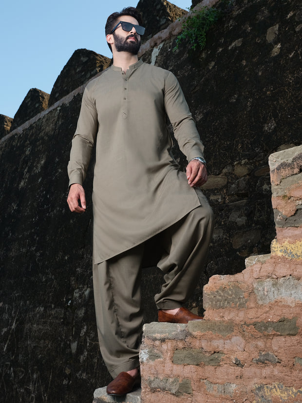 Light Brown Blended Kameez Shalwar - AL-KS-2536