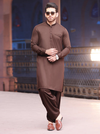 Brown Blended Kameez Shalwar -AL-KS-2557