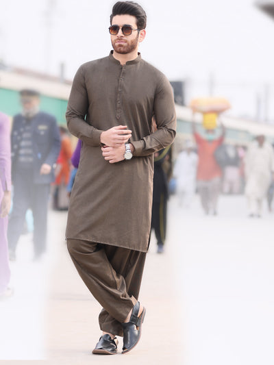 Brown Blended Kameez Shalwar -AL-KS-2582
