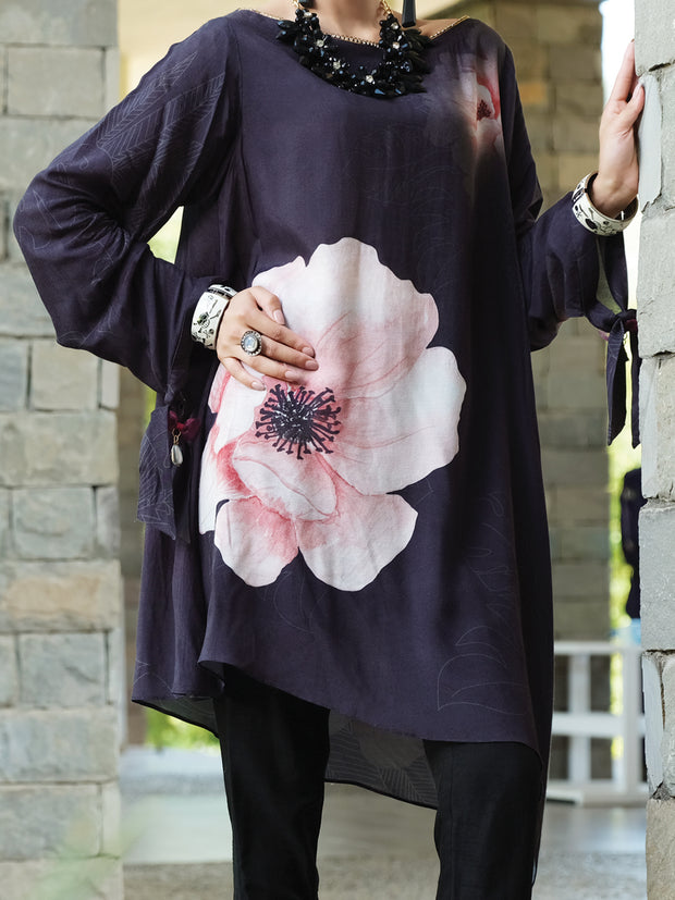 Black Silk Viscose Tunic - AWP-LK-291