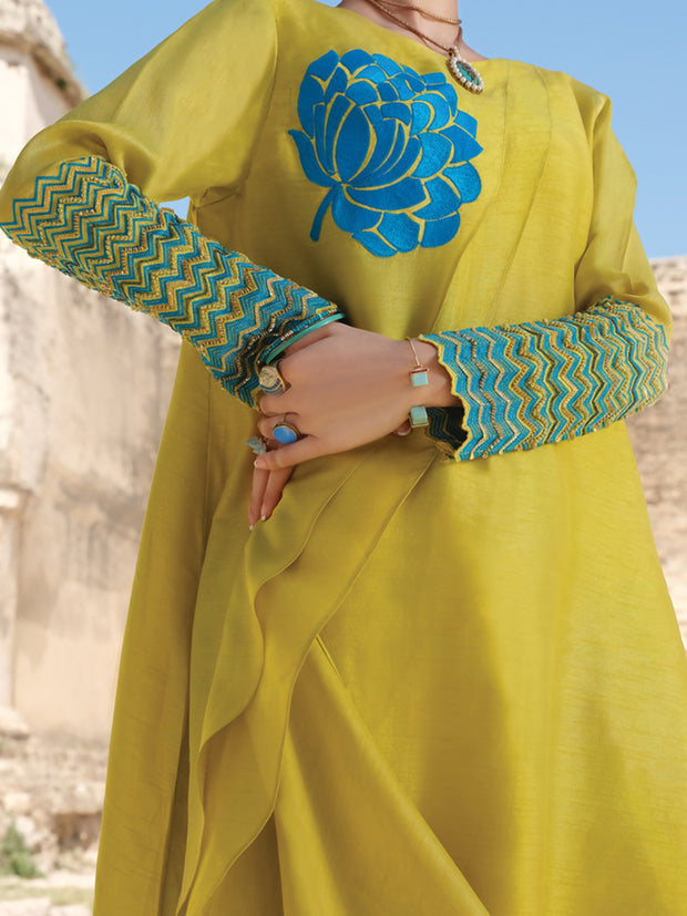 Light Green Raw Silk Tunic - LK-704