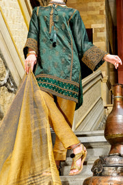 Green Cotton Silk 2 Piece Stitched - LKS-645