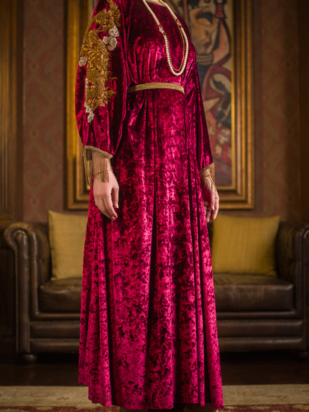 Maroon Velvet 2 Piece Formal Suit - LS-236