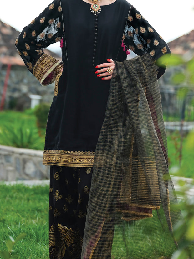 Black Viscose 3 Piece Formal Suit - LS-241