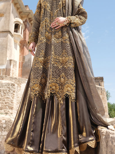 Gold Banarsi 3 Piece Formal Suit - LS-244