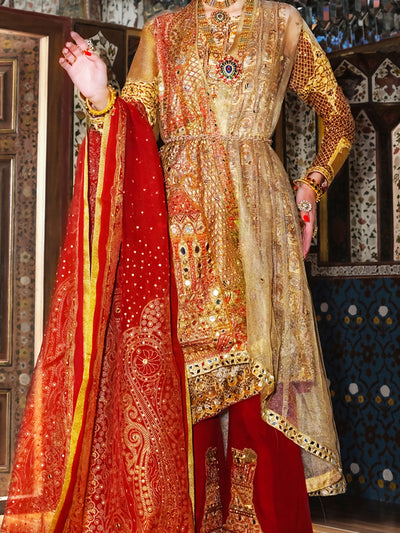 Gold Viscose Net 3 Piece Formal Stitched Suit - LS-248