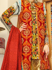 Red Silk 3 Piece Formal Suit - LS-251