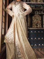 Beige Organza 3 Piece Formal Suit - LS-253