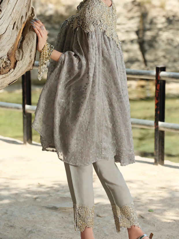 Grey Chiffon 2 Piece Formal Suit - LS-256