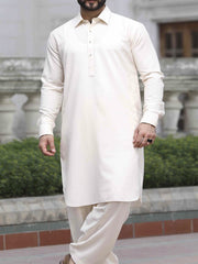 Cream Blended Kameez Shalwar - ALWA-KS-119