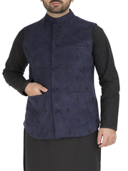 Navy Blue Blended Waistcoat - WC-286