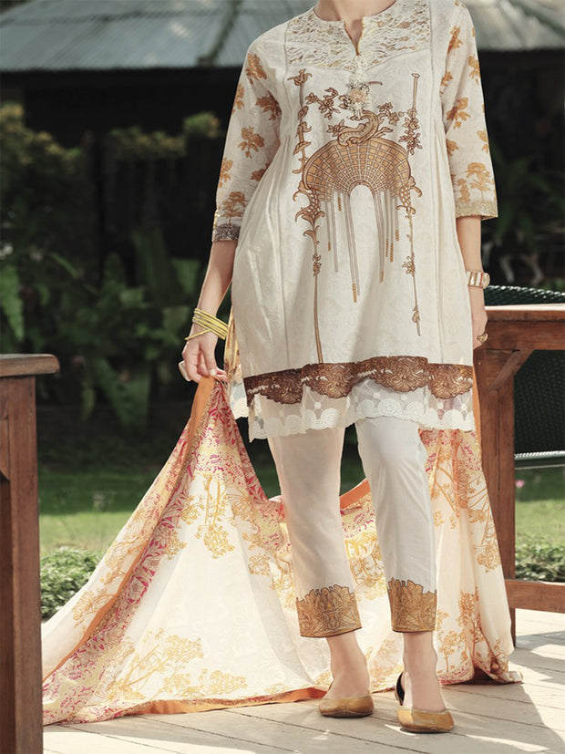 Natural Lawn 3 Piece Stitched - ALP-611