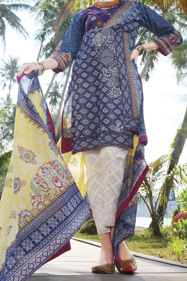 Blue Lawn 3 Piece Unstitched - ALP-614