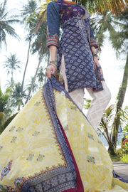 Blue Lawn 3 Piece Stitched - ALP-614