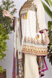 White Lawn 3 Piece Stitched - ALP-704