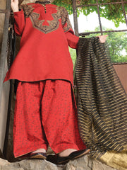 Red Jacquard 3 Piece Stitched - ALP-732