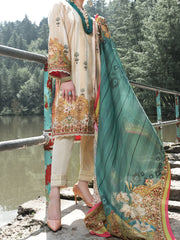 Beige Cambric 3 Piece Unstitched - ALP-3PS-972