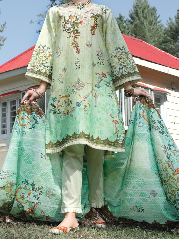 Green Cambric 3 Piece Stitched - ALP-3PS-973/S
