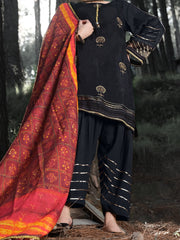 Black Silk 3 Piece Unstitched - ALP-3PS-990