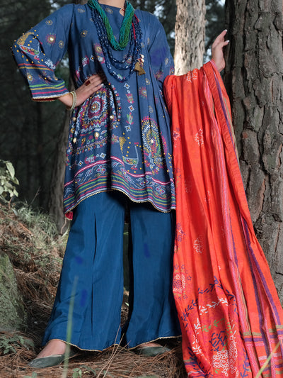 Blue Raw Silk 3 Piece Unstitched - ALP-3PS-991