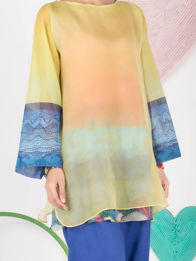 Yellow Cotton Net Tunic - ALP-GRK-1002