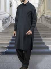 Navy Blue Blended Kameez Shalwar - ALWA-KS-111