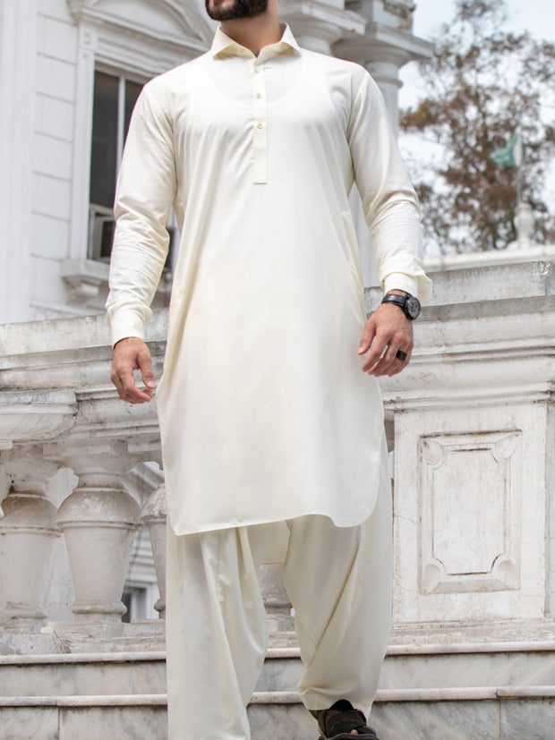 Cream Blended Kameez Shalwar - ALWA-KS-144