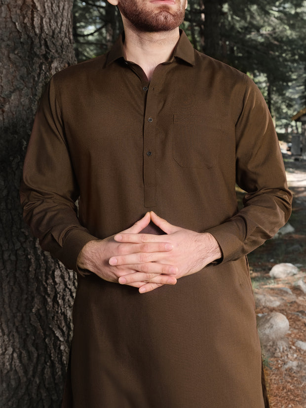 Brown Blended Kameez Shalwar - ALWA-KS-159