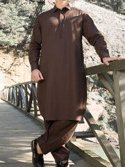 Brown Blended Kameez Shalwar - ALWA-KS-171