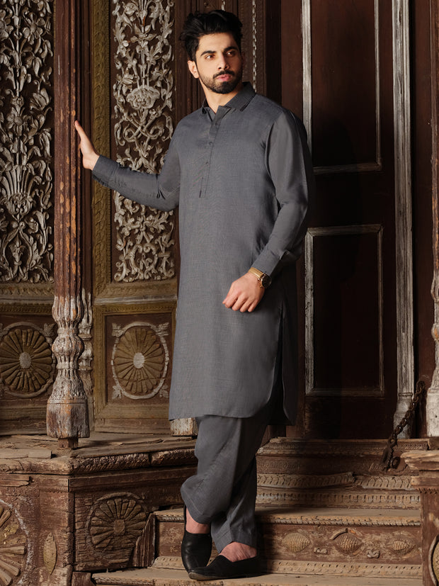 Grey Blended Kameez Shalwar - ALWA-KS-202