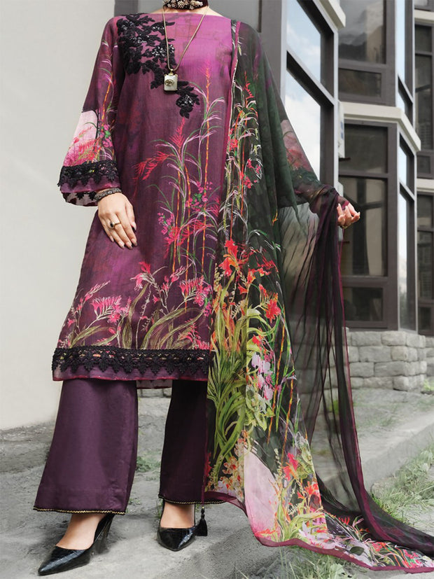 Purple Khaddar + Linen 3 Piece Unstitched - AWP-212
