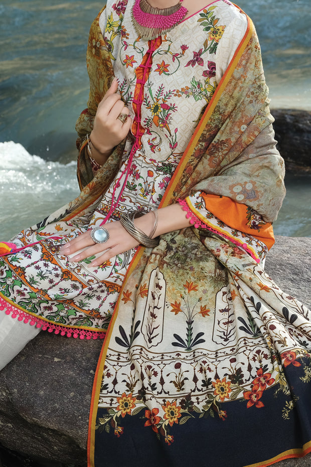 Natural Cambric 3 Piece Unstitched - AWP-257